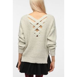 Sparkle & Fade UO Beige Back Cut Out Sweater XS